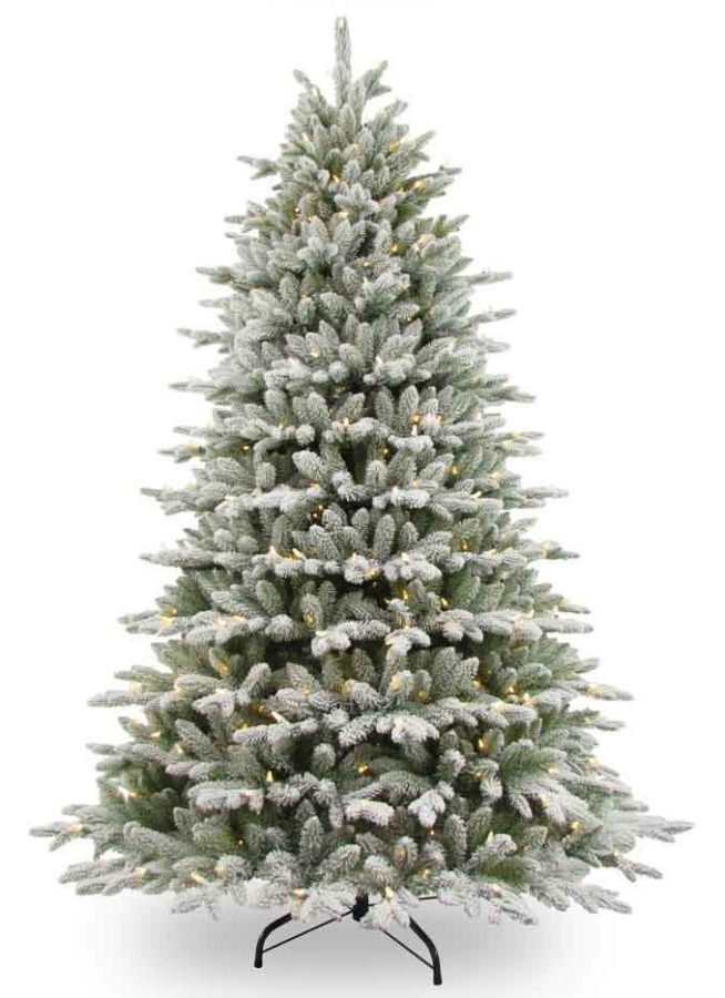 An artificial Christmas tree with snow.