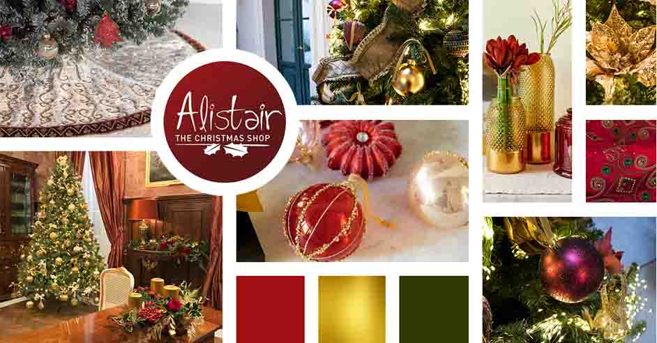 A Christmas theme mood board focusing mainly on traditional decor