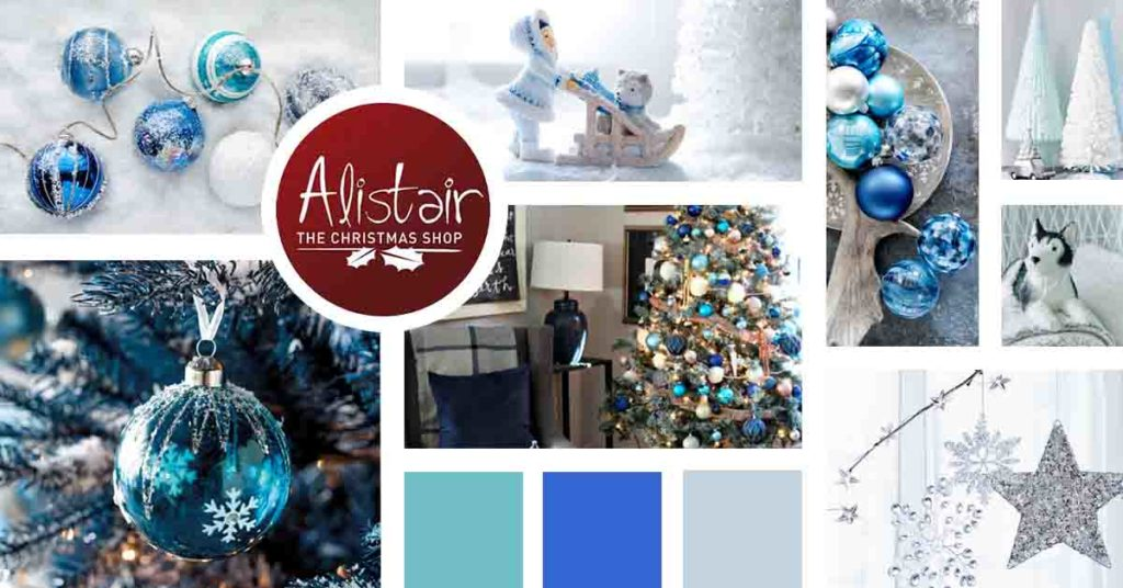A Christmas theme mood board focusing mainly on frost and cold weather Christmas decor.