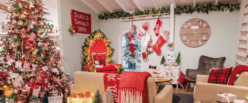 A living room filled with red Christmas decor