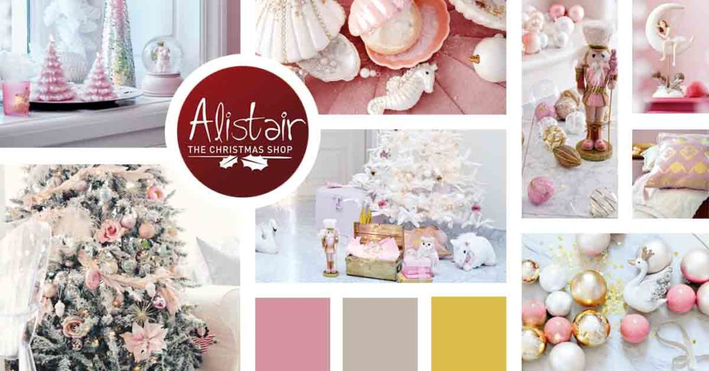 A mood board focusing mainly on pink colored Christmas decor