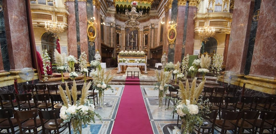 Imdina Cathedral decorated with wedding flowers
