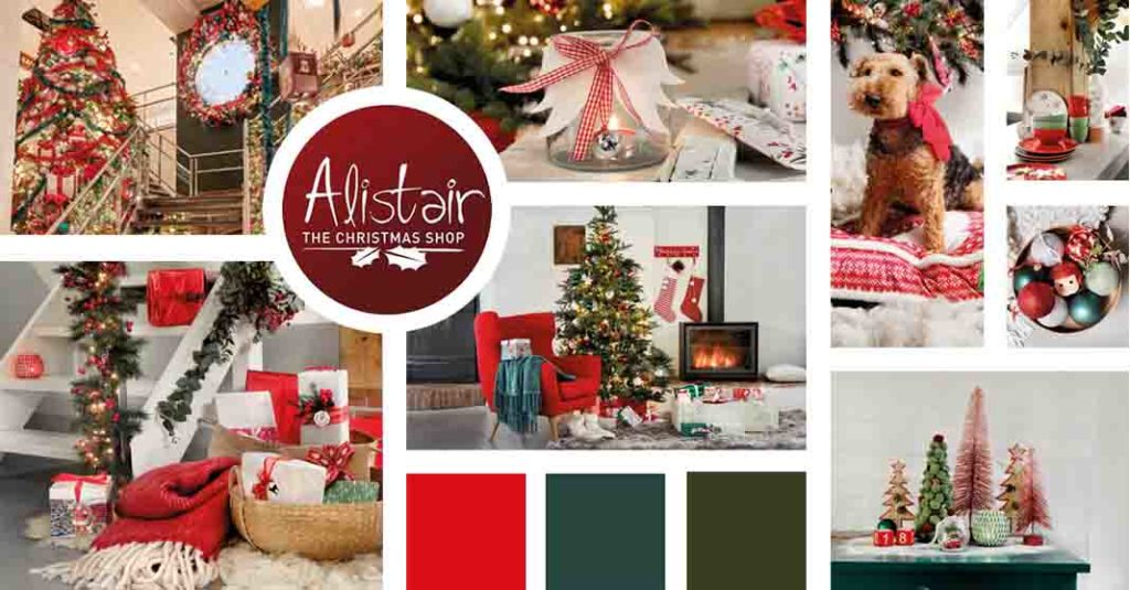 A Christmas theme mood board focusing on a modern red Christmas decor