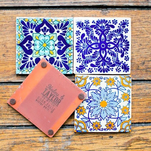 Four personalized ceramic coasters