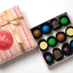 Pink box with pralines